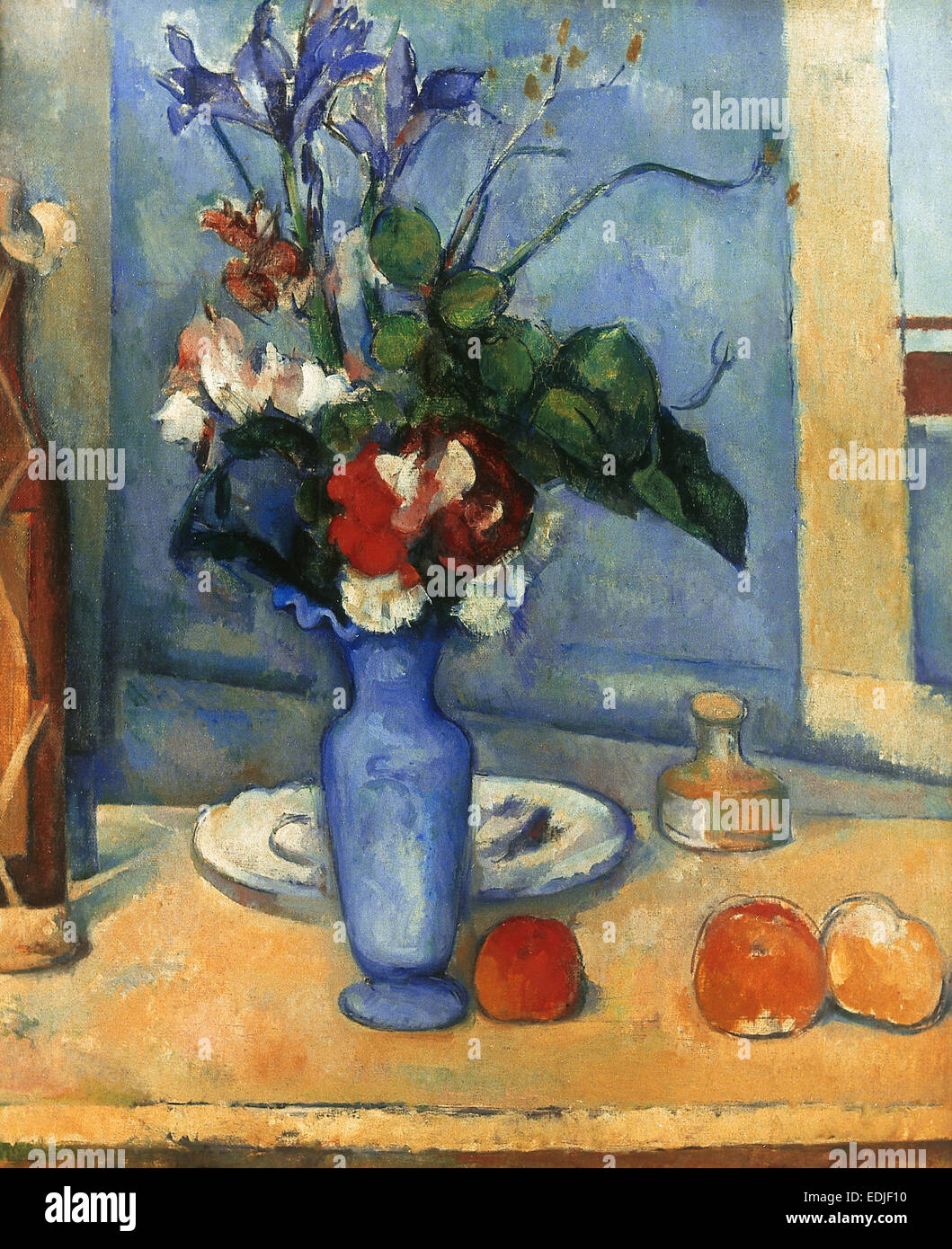 Flowers by post vase - Paul Cezanne 1839 1906 French Painter Post Impressionist Blue