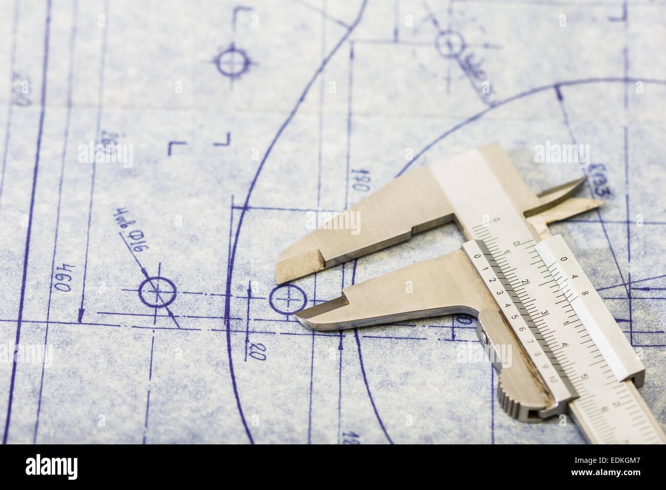 Very detailed mechanical engineering blueprint with gauge stock very detailed mechanical engineering blueprint with gauge malvernweather Choice Image