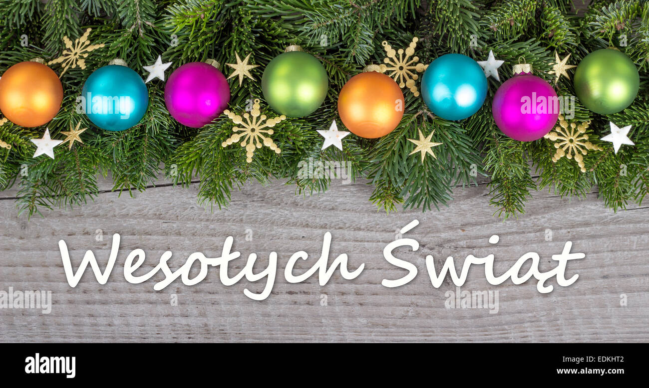 Pierogi christmas ornament - Polish Christmas Card With Christmas Baubles Fir Branches And Golden Stars Stock Image