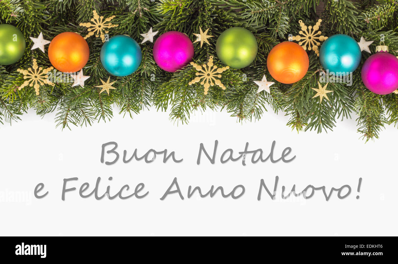 Italian christmas card with christmas baubles fir branches italian christmas card with christmas baubles fir branches golden stars and text merry christmas and a happy new year kristyandbryce Images