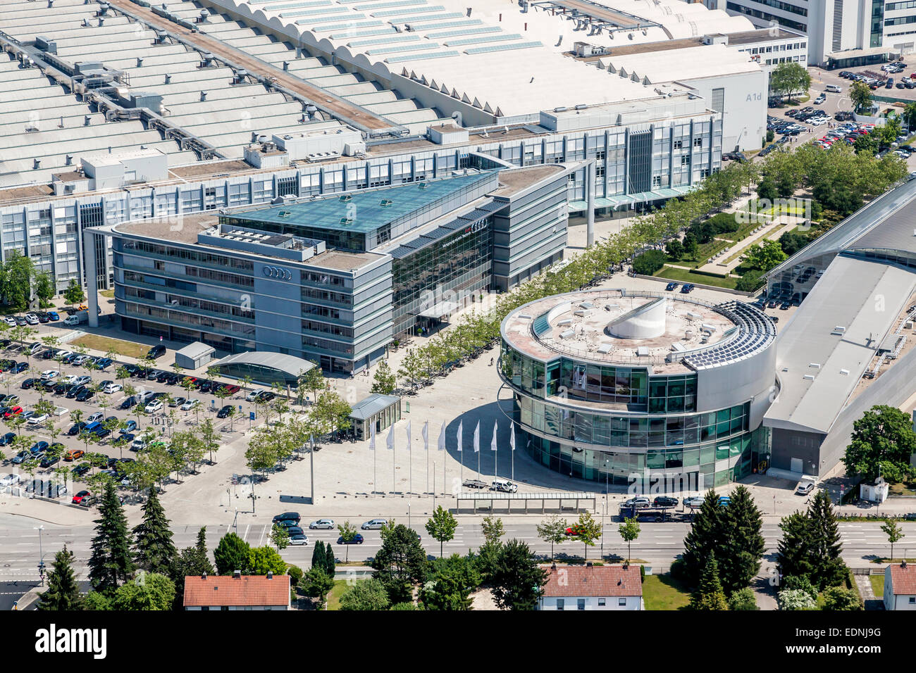 Aerial View Corporate Headquarters Of Audi Ag At The Main