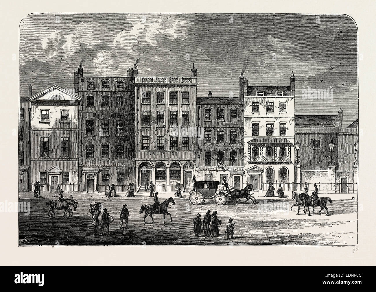 Old Houses In Pall Mall About 1830 London Uk 19th