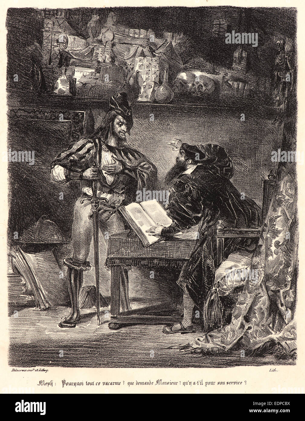 Cards on the table mathistopheles - Eug Ne Delacroix French 1798 1863 Mephistopheles Appearing To Faust M Phistoph L S