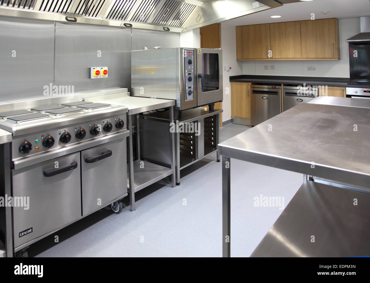 A Commercial Kitchen In A Modern Care Home For The Elderly. Shown Empty  With Equipment Only.