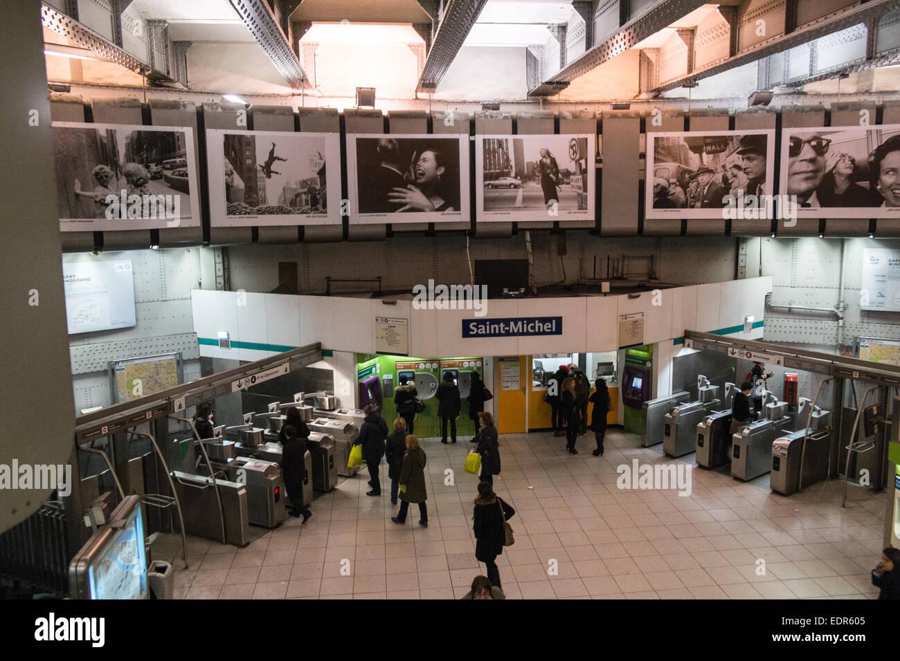 Huge black and white photography prints at saint michel metro train stock photo royalty free - Saint michel paris metro ...
