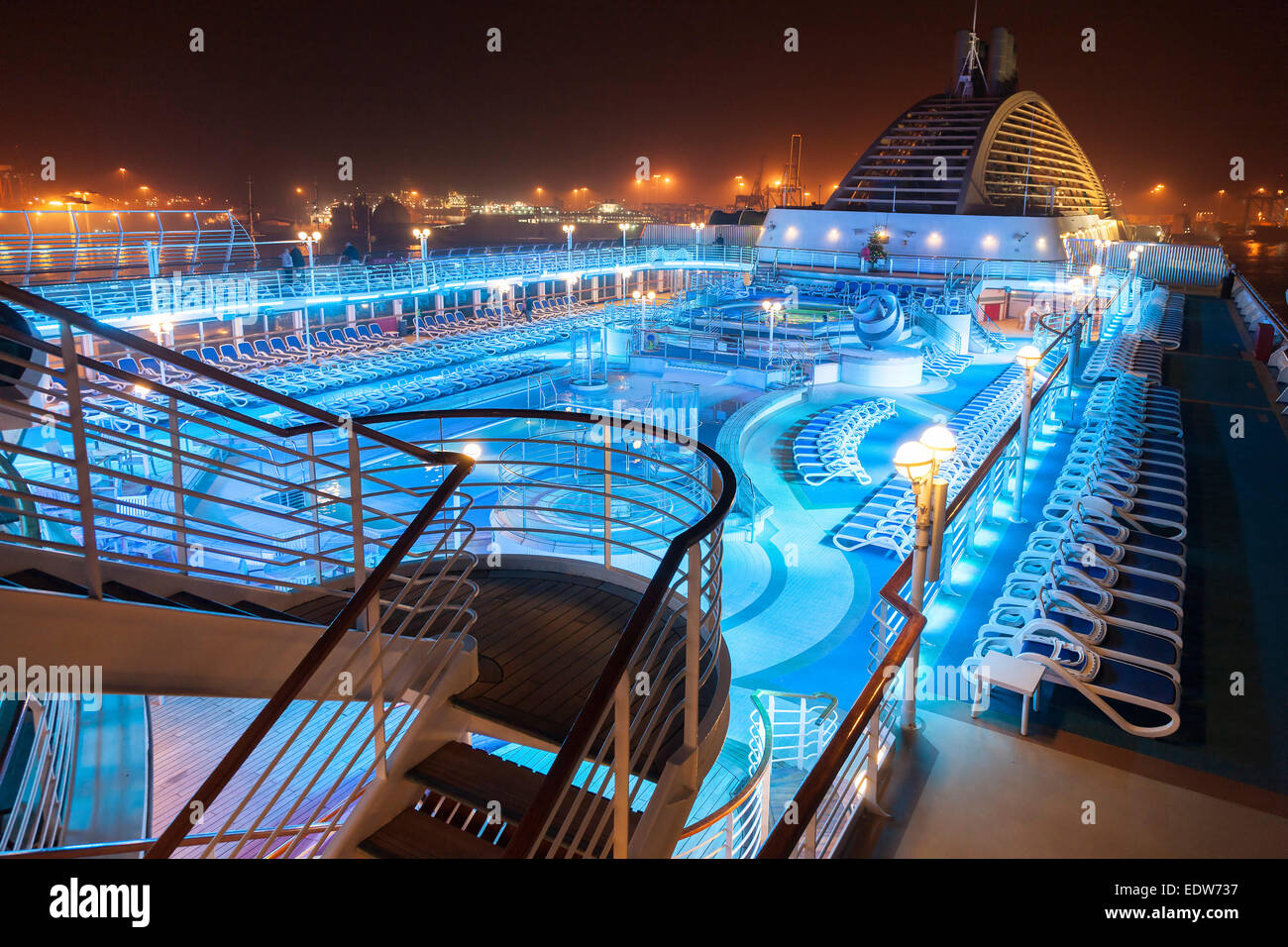 P&O Oceana Pool deck lite up at night with coloured lights Las Stock Royalty Free Image