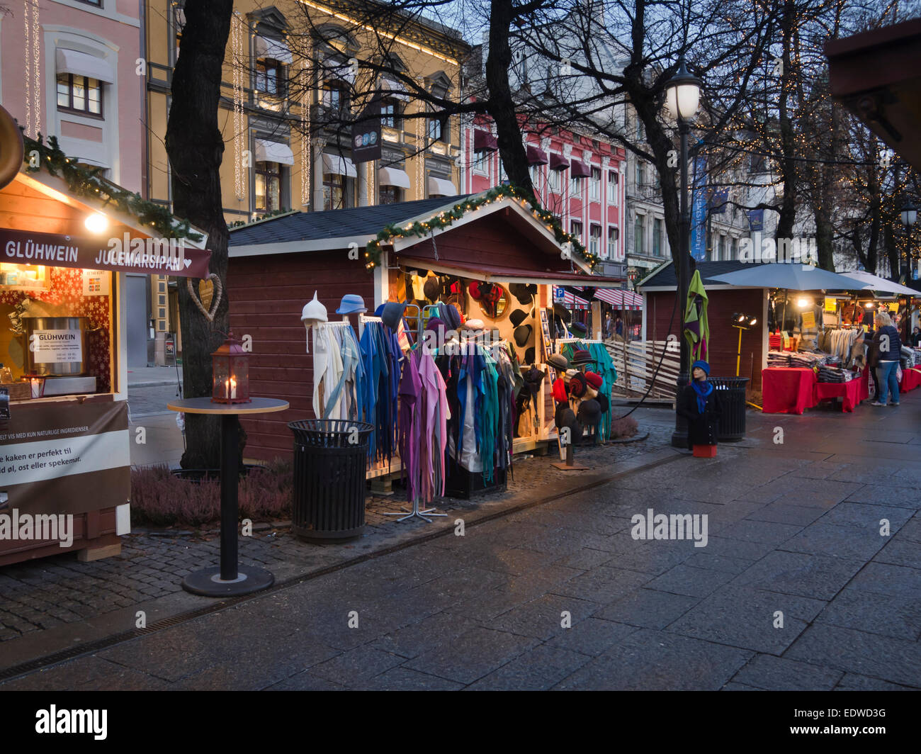 Christmas market with small wooden cabins in Karl Johans gate and ...