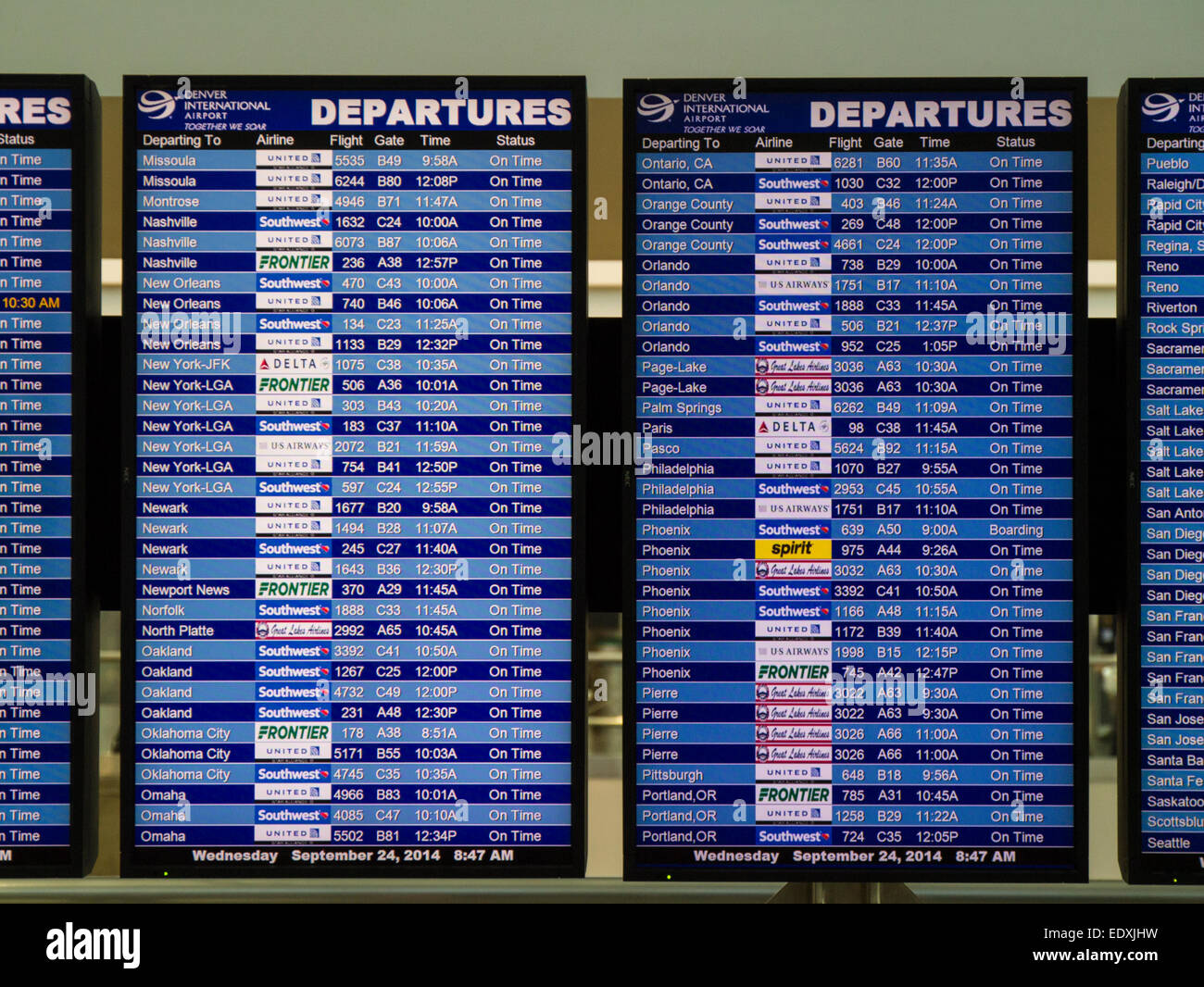 flight information departure board in airport terminal