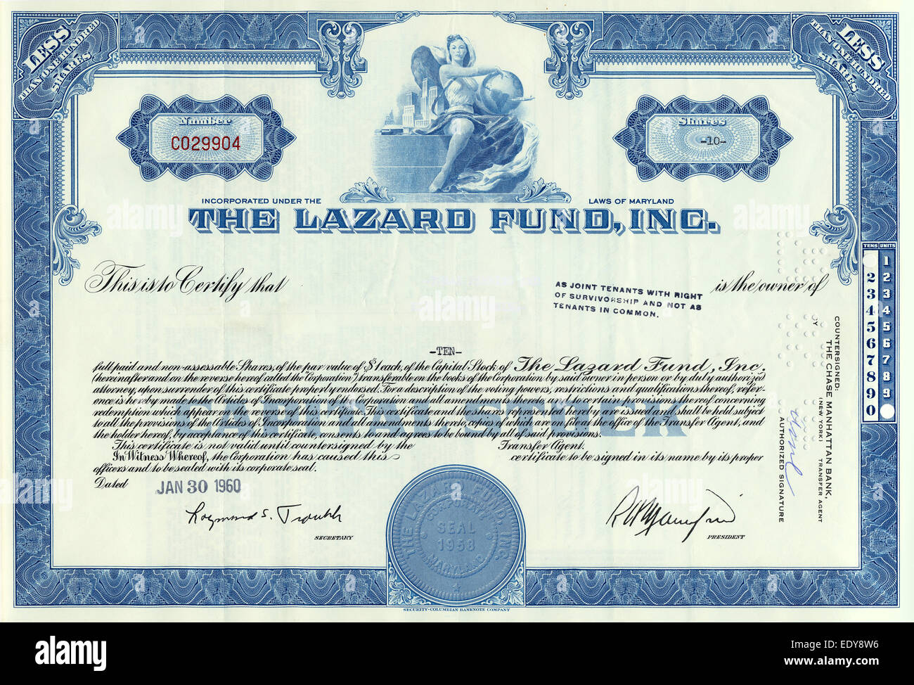 dividend certificate template - historic share certificate the lazard fund inc 1960