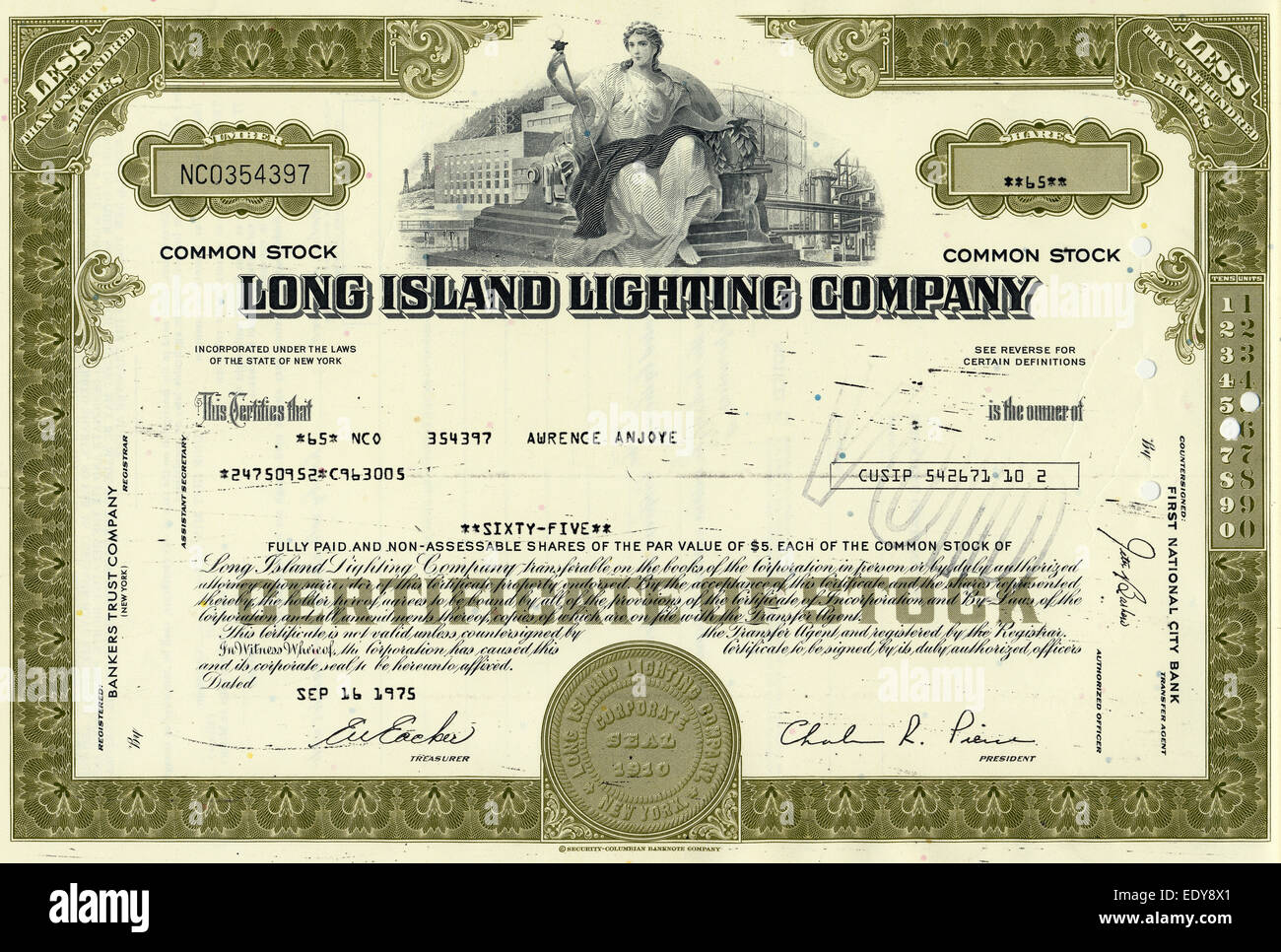 Historic share certificate electrical power and natural gas company Long Island Lighting Company 1975 New York USA  sc 1 st  Alamy & Historic share certificate electrical power and natural gas ... azcodes.com
