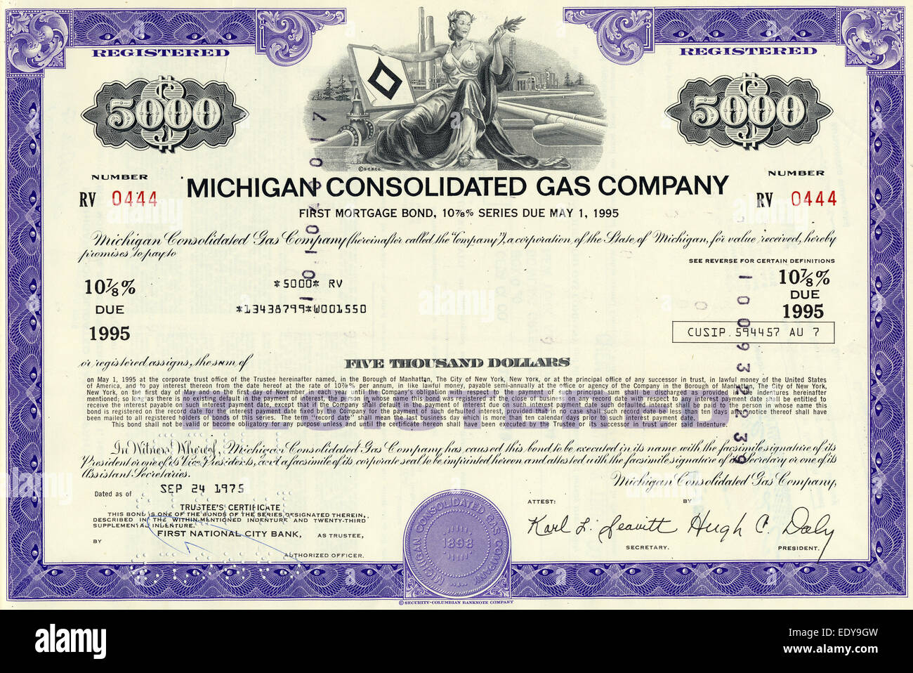 Historic Share Certificate, The Michigan Consolidated Gas Company, USA, 1975  Company Share Certificates