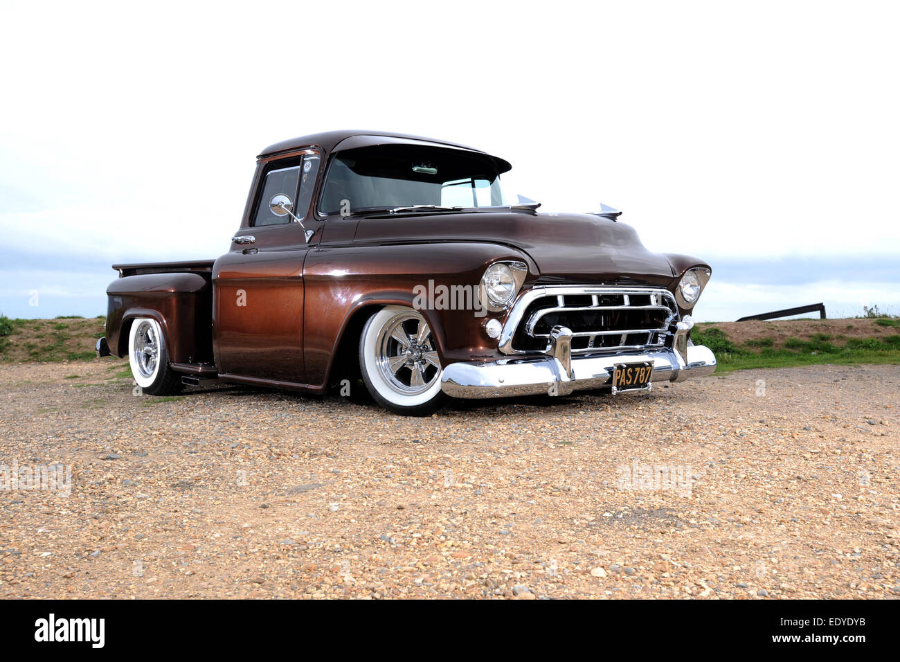 Modified 1957 chevy 3100 step side pickup truck stock image