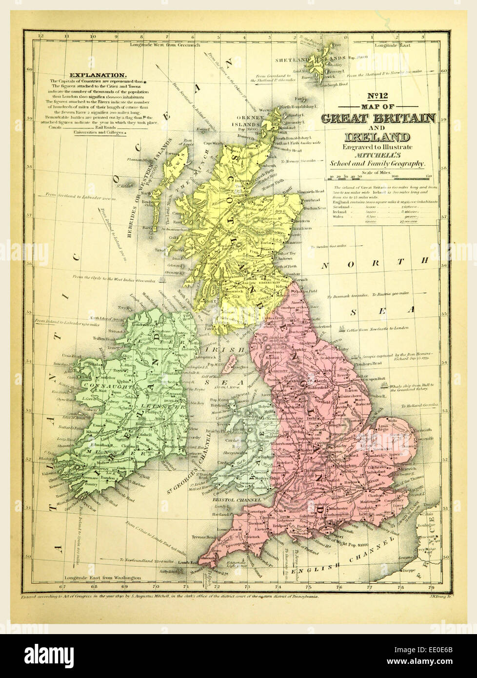 Map Of Great Britain And Ireland Th Century Engraving Stock - Map of great britain and ireland