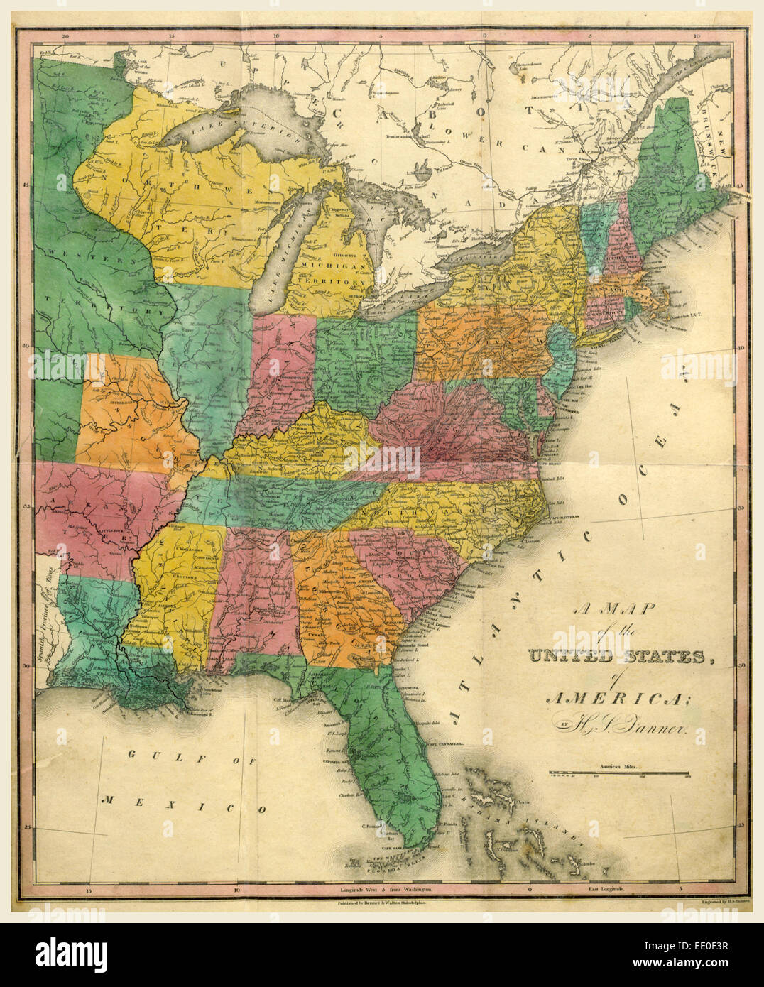 Map Of The United States Th Century Engraving US Stock Photo - Map of us stock
