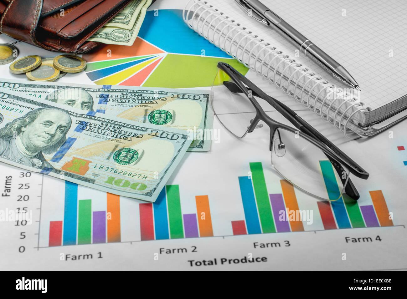 business plan schedules money wallet pen dollar stock