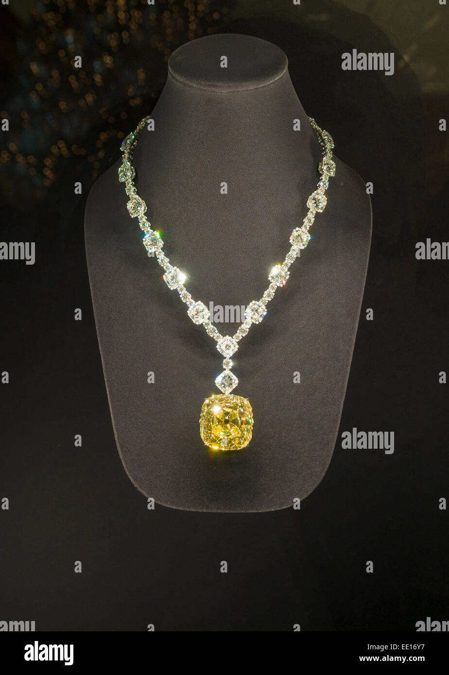 Tiffany yellow diamond mounted in a necklace of white diamonds tiffany yellow diamond mounted in a necklace of white diamonds on display at the fifth avenue store tiffanys new york city mozeypictures Image collections