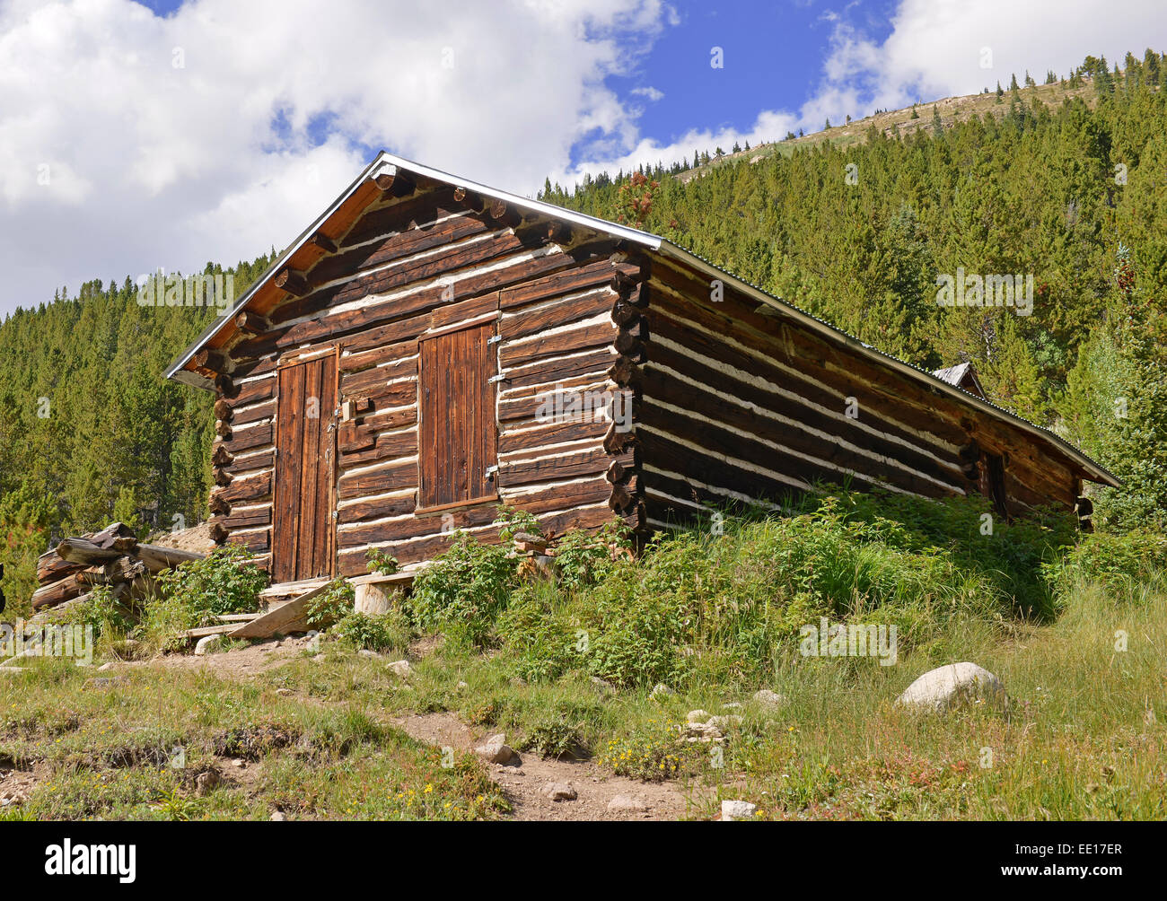 Marvelous photograph of Vintage Log Cabin In Old Mining Town Colorado Stock Photo Royalty  with #2C459F color and 1300x1004 pixels