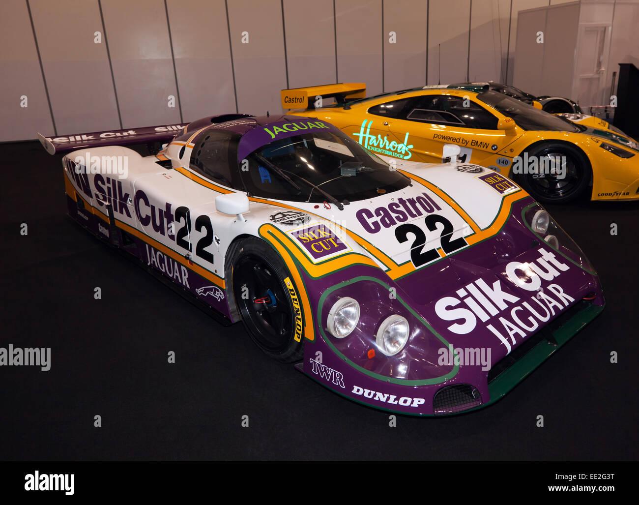 1988 7 liter v12 engine jaguar le mans race car on show at the stock photo royalty free image. Black Bedroom Furniture Sets. Home Design Ideas