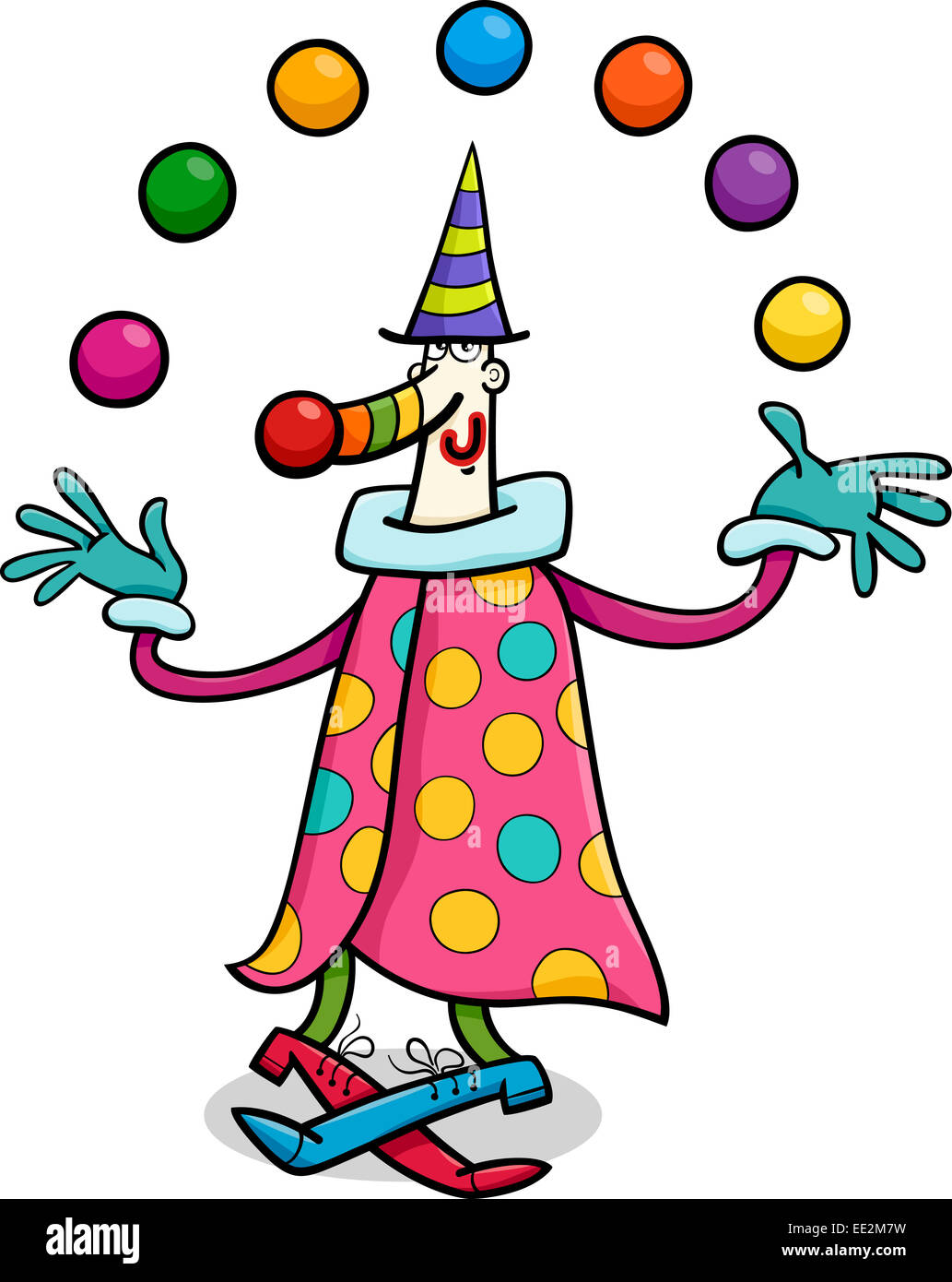 cartoon illustration of funny clown circus performer Juggler Costume juggler clipart black and white
