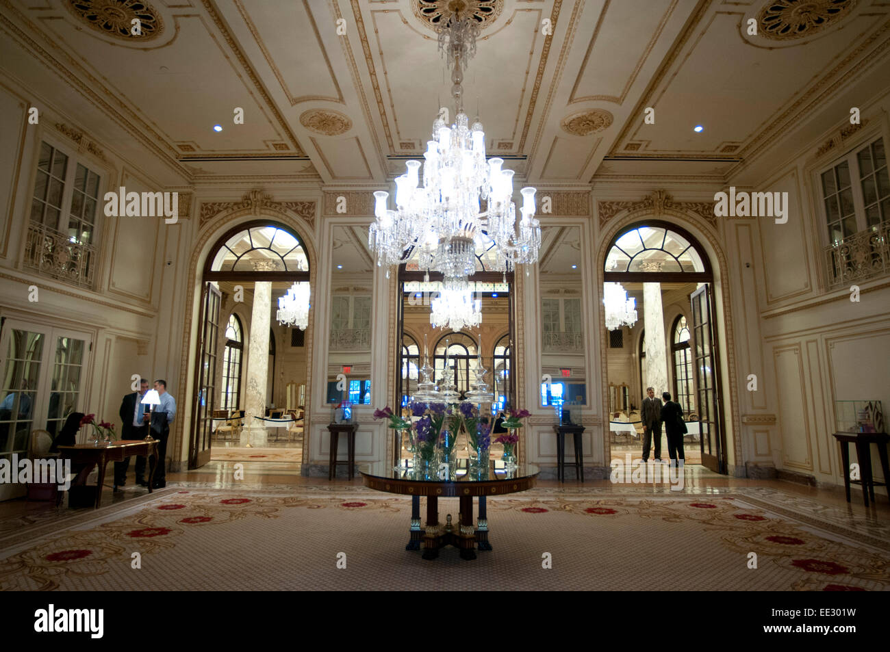 lobby of the plaza hotel new york usa the plaza hotel landmark stock photo royalty free image. Black Bedroom Furniture Sets. Home Design Ideas
