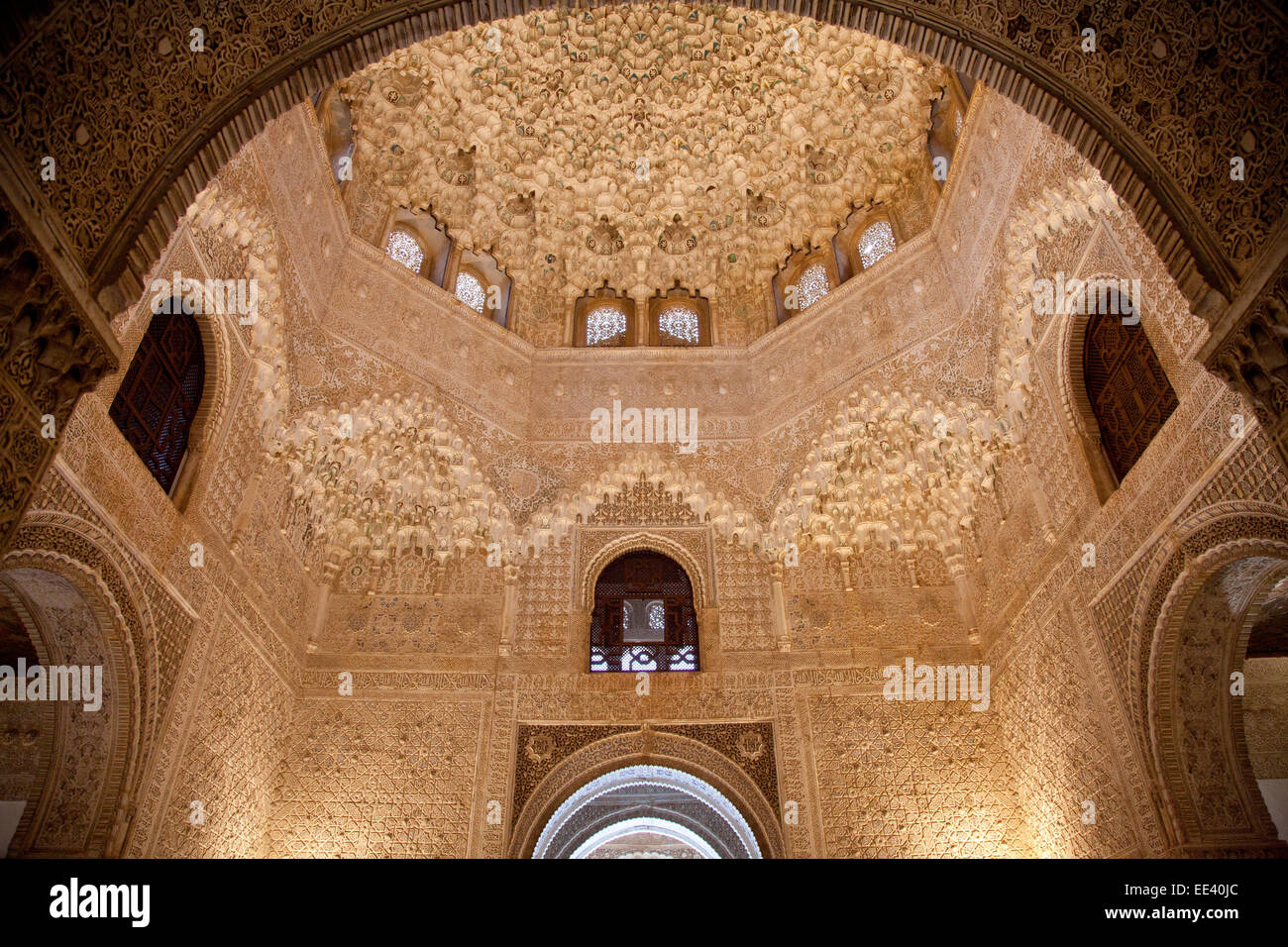 Granada, Alhambra, Hall of the Two Sisters (Sala de Dos Hermanas Stock Photo,...