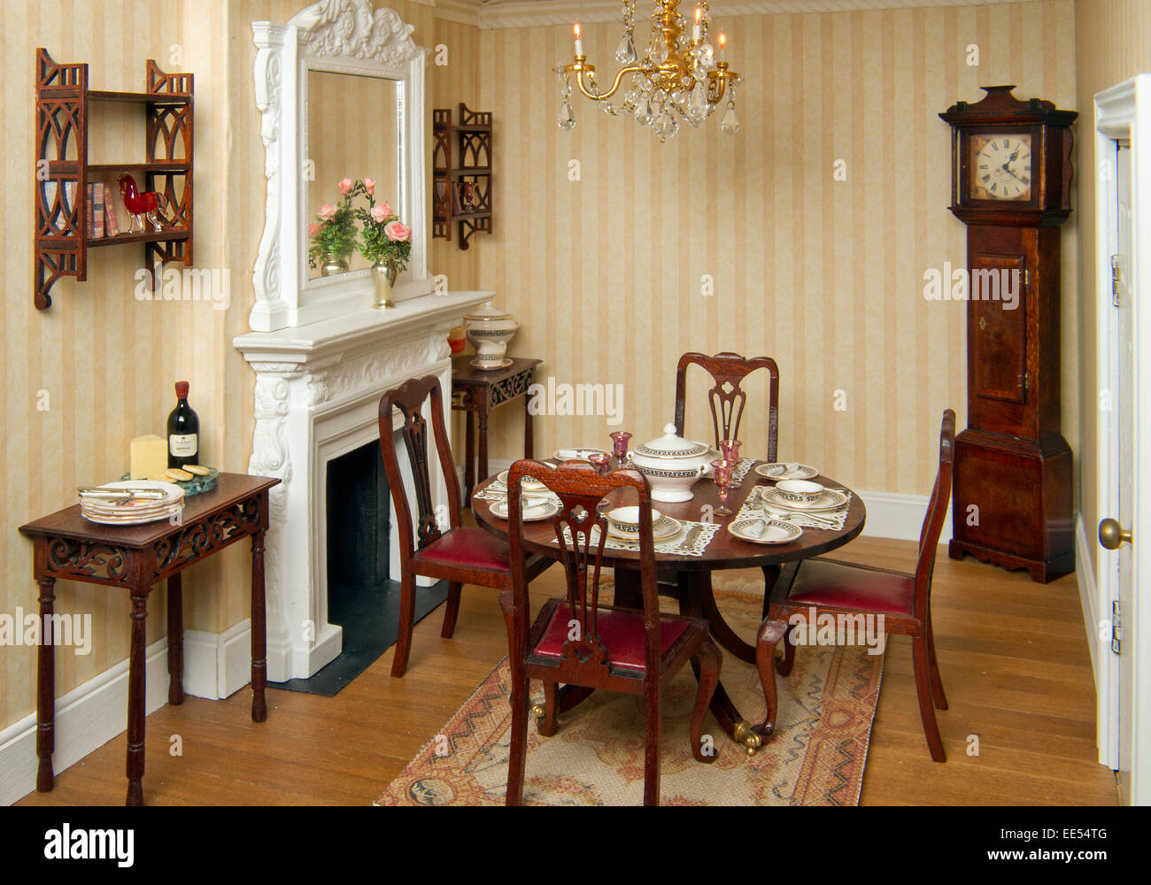 Regency period dolls house, showing the miniature interiors and ...