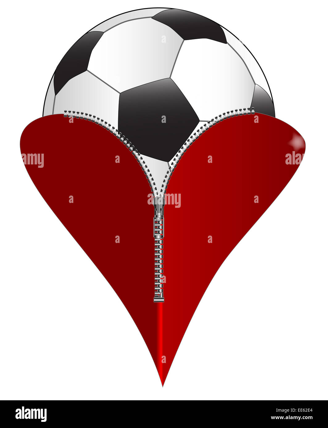 A red heart with a zipper showing a soccer ball rising from within a red heart with a zipper showing a soccer ball rising from within biocorpaavc Images