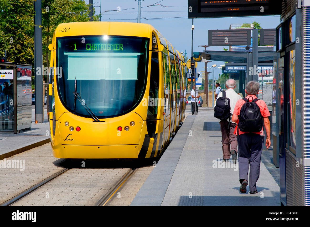 mulhouse alsace france tram no 1 at tram stop stock photo royalty free image 77676858 alamy. Black Bedroom Furniture Sets. Home Design Ideas