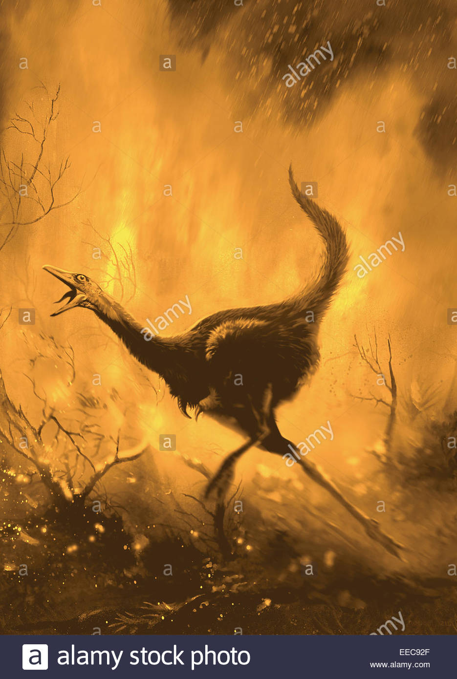 a frightend mononykus tries to escape a fiery forest fire mononykus was a bird