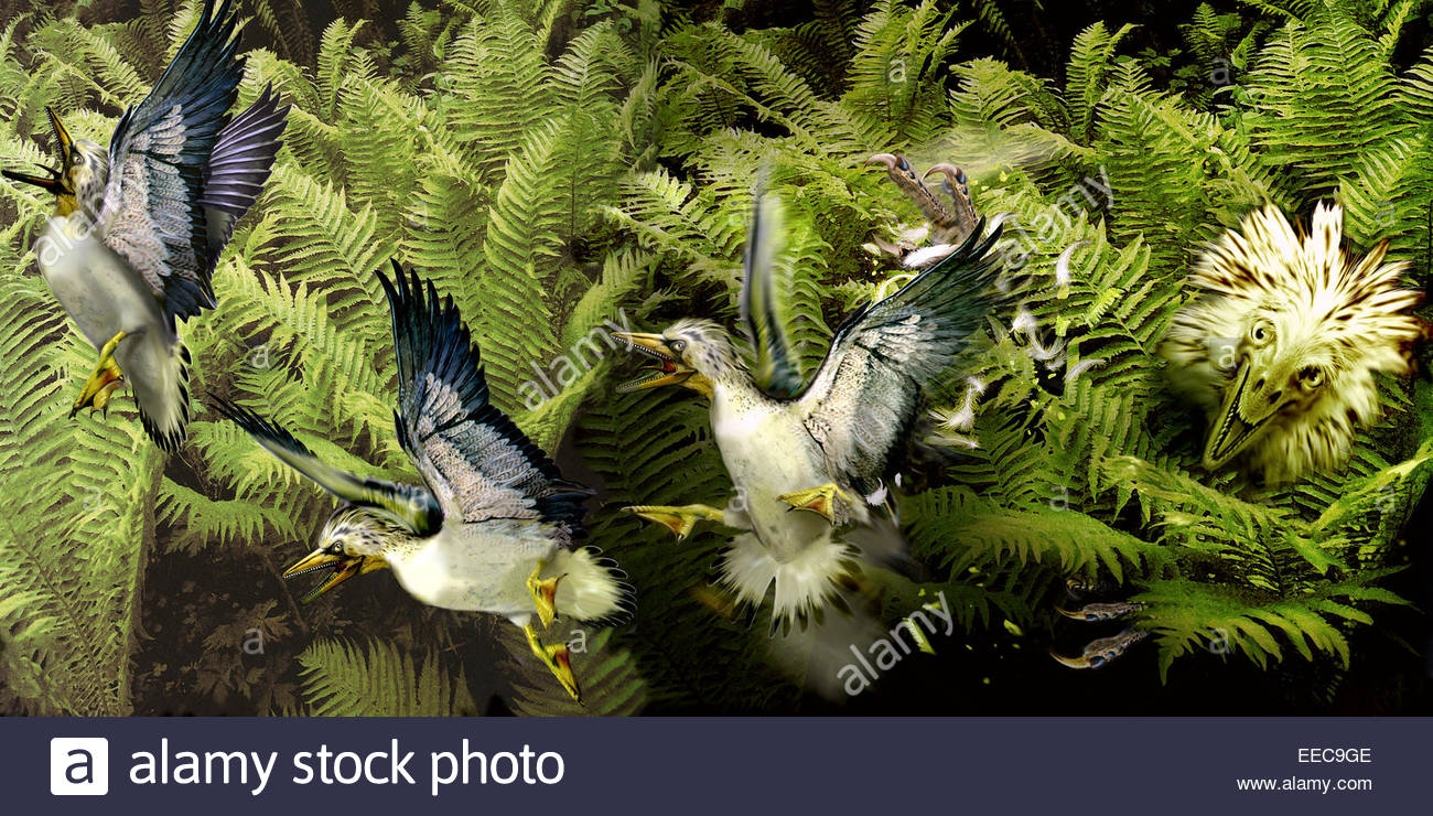 a group of ichthyornis seabirds narrowly escape the claws of a troodon hiding in the foliage