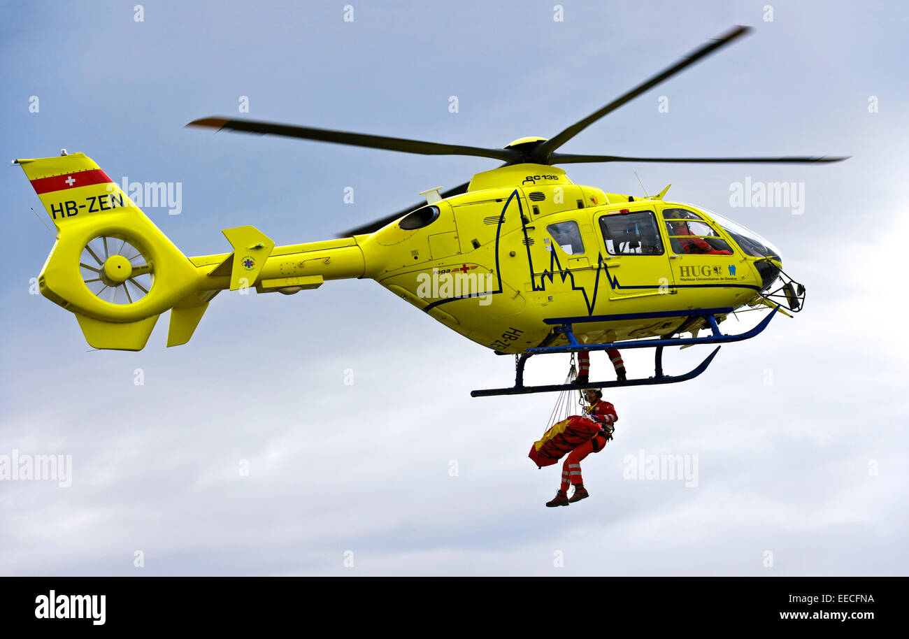 Rescue helicopter Eurocopter EC135 T2+ of the University ...
