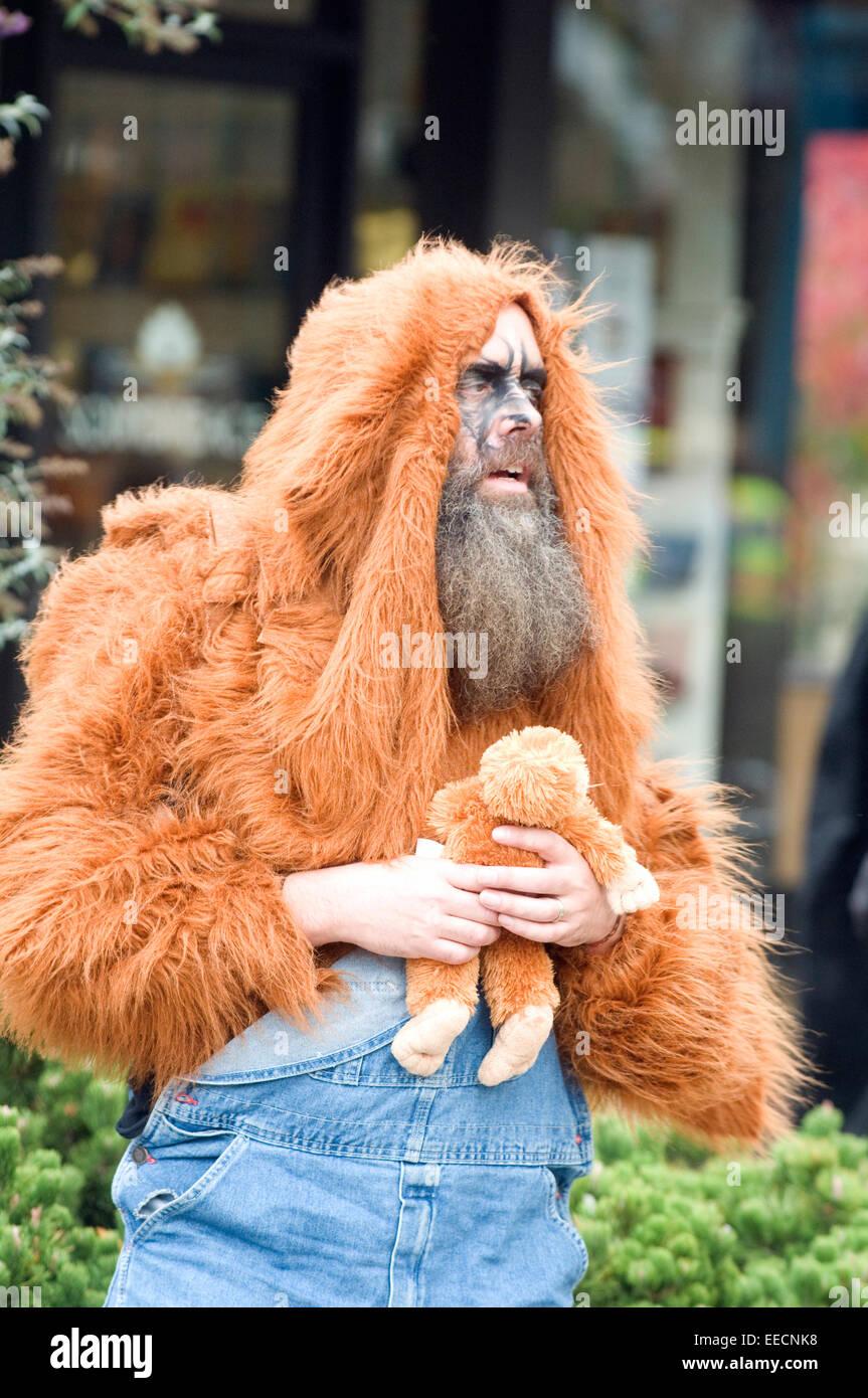bearded man in halloween costume in ashland oregon usa