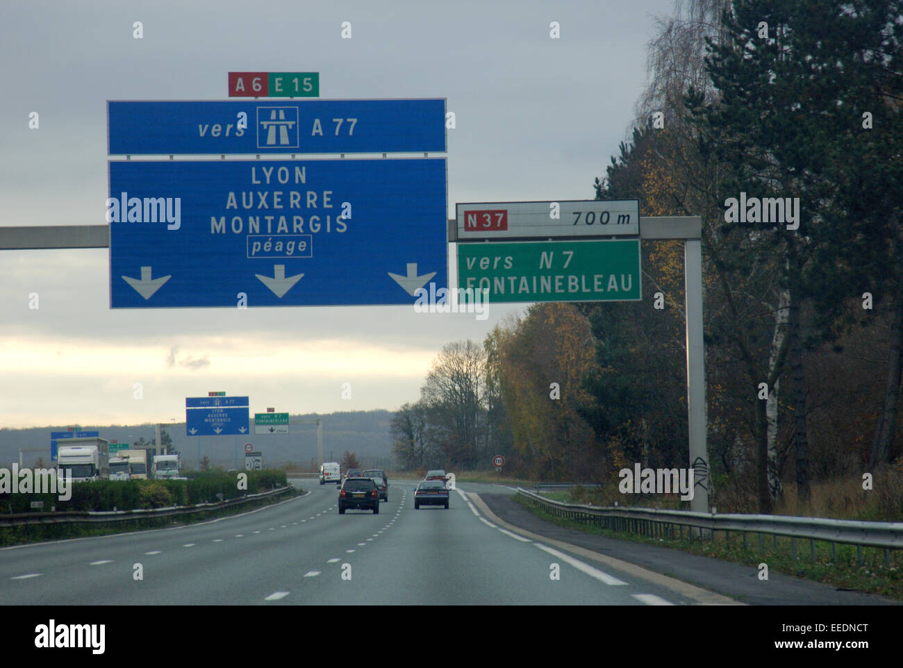 a6 e15 a77 autoroute motoway through france sign to lyon auxerre stock photo royalty free. Black Bedroom Furniture Sets. Home Design Ideas