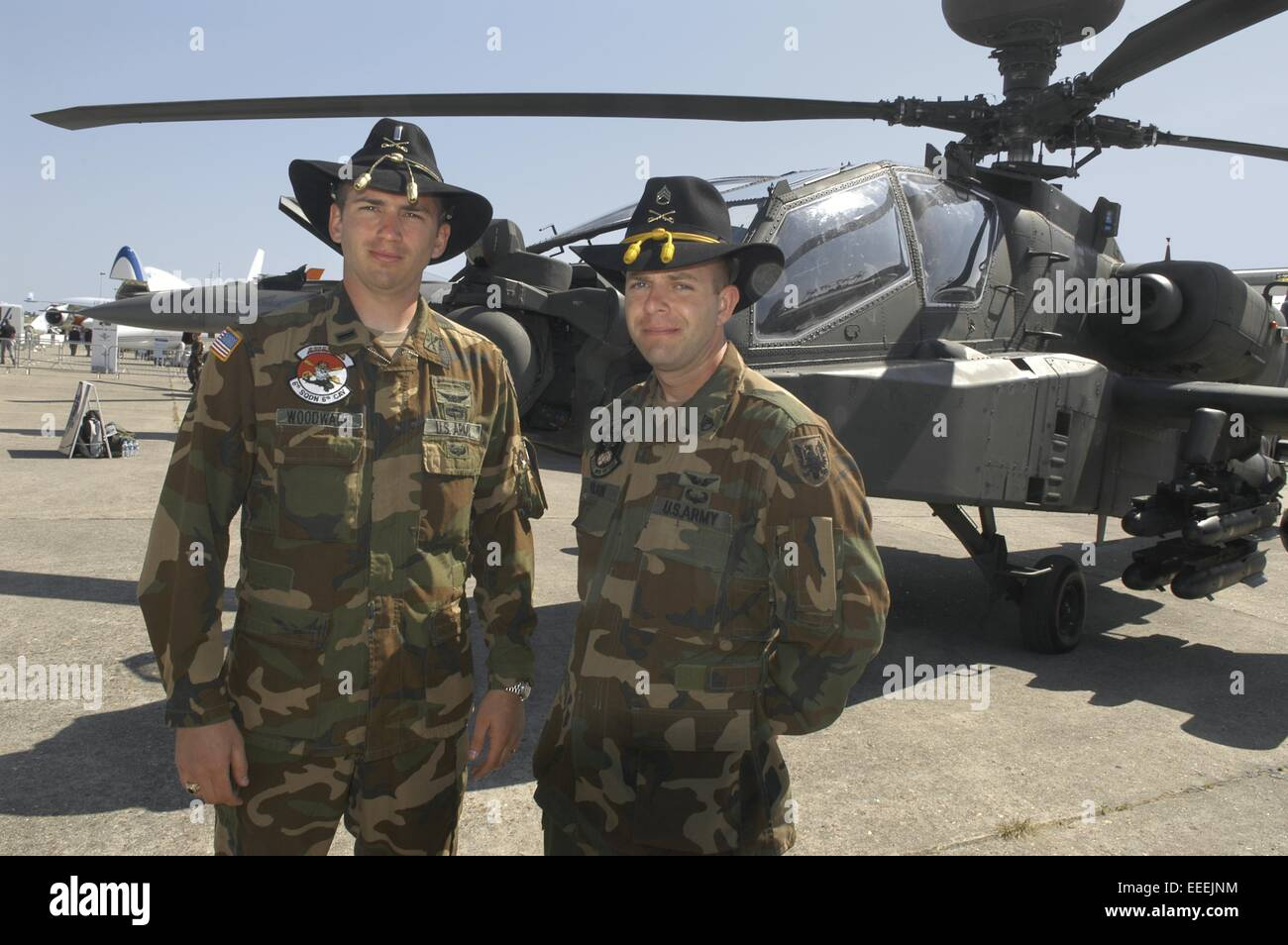 crew of an US Army Apache anti tank combat helicopter with cavalry ...