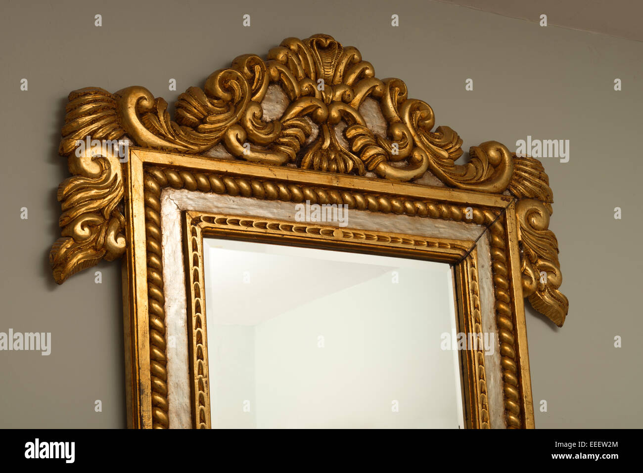 Silver Mirror Wall Photo Frame: Gilded Mahogany Wall Mirror Frame From Honduras. Silver