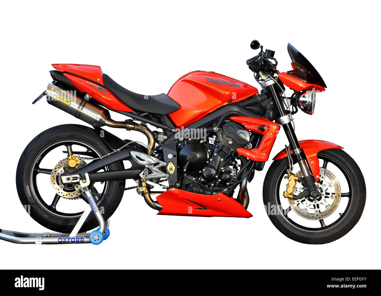 2011 triumph street triple 675 r motorcycle with arrow exhaust and stock photo royalty free. Black Bedroom Furniture Sets. Home Design Ideas