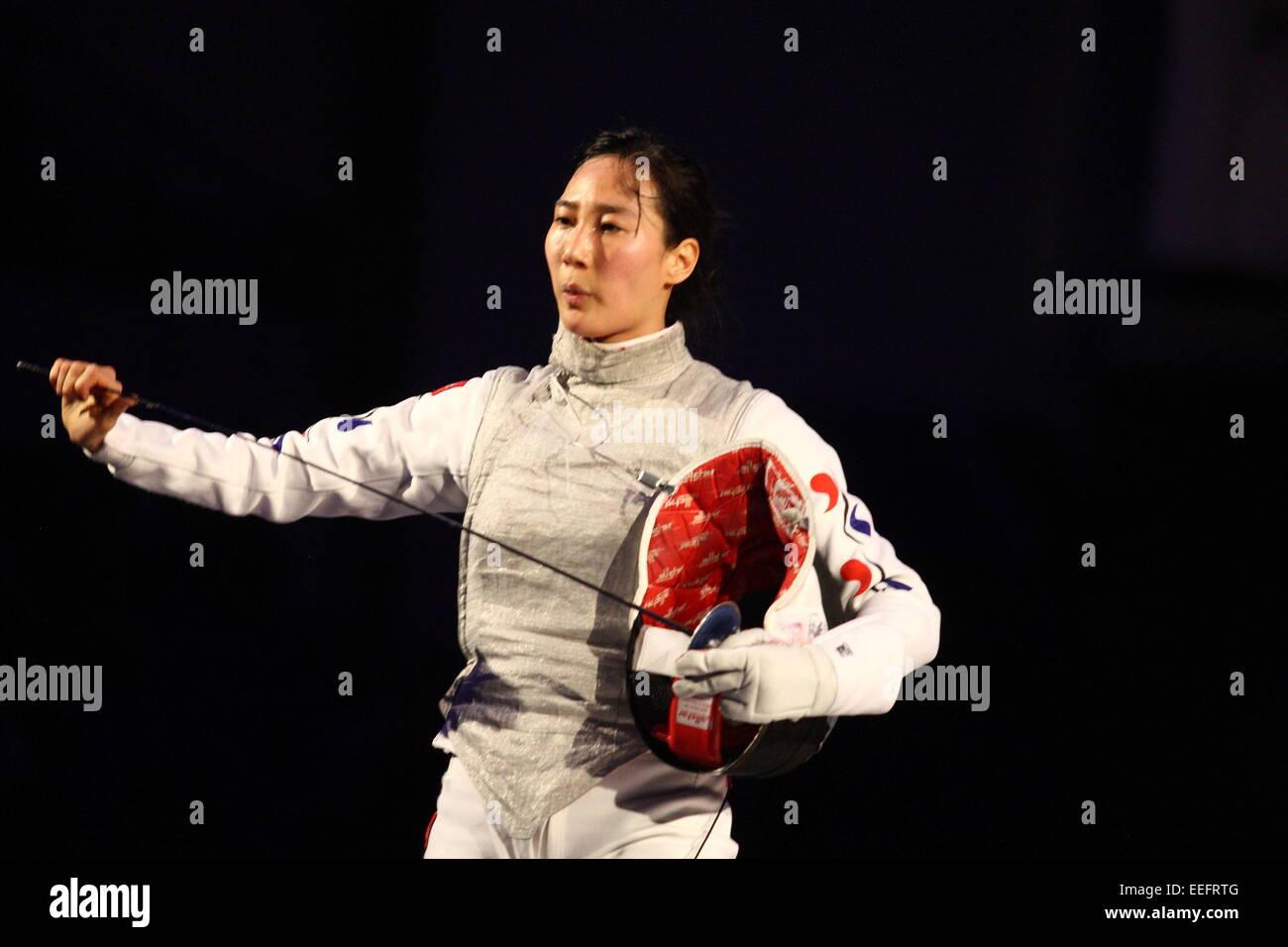 Artus Court  Fencing Cup In Gdansk First Semi Final Game Jeon Hee Sook Korea Fights Against Ines Boubakari Tun Credit Michal