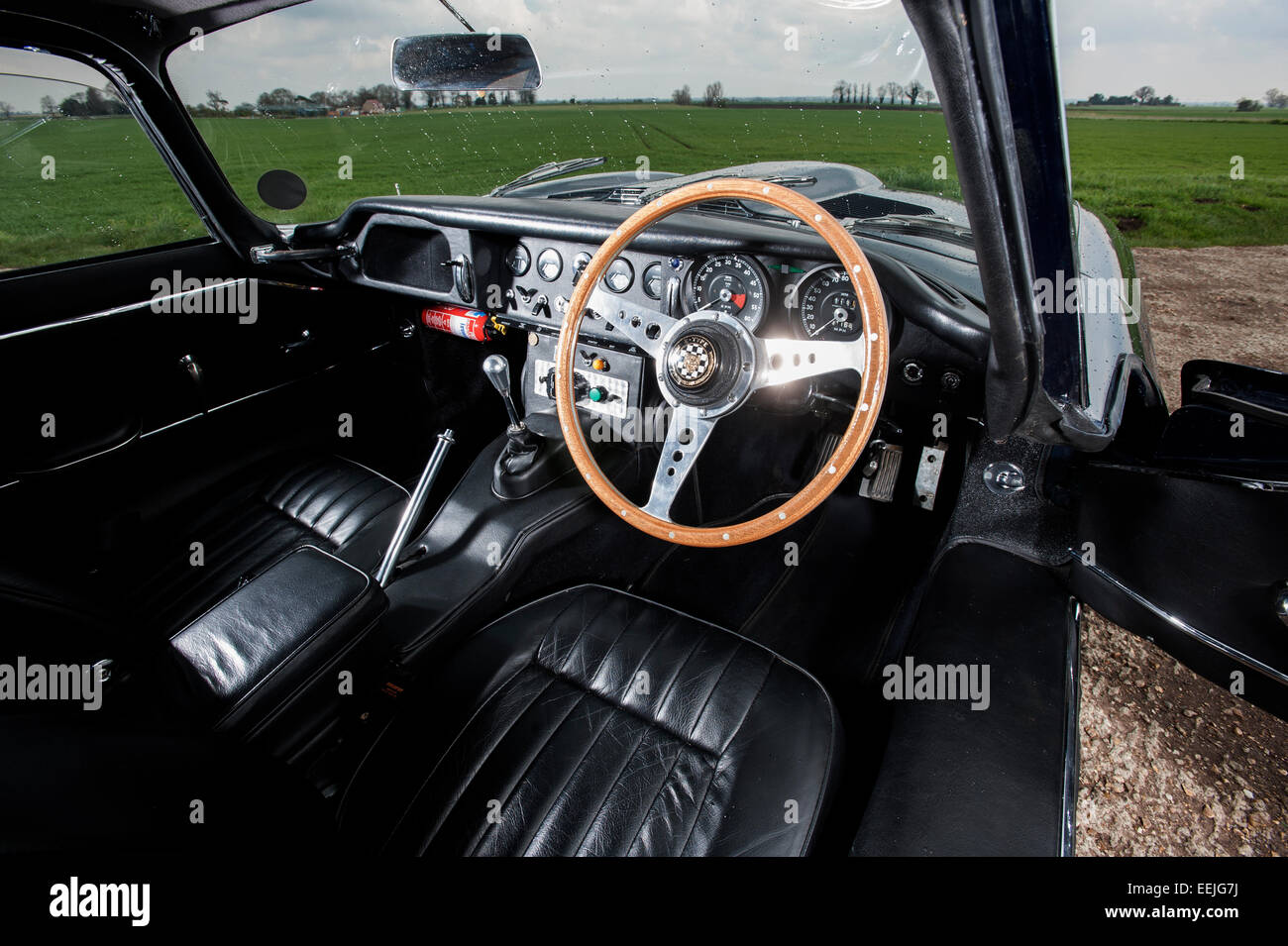 A dashboard of an old E-Type Jaguar car Stock Photo, Royalty Free ...
