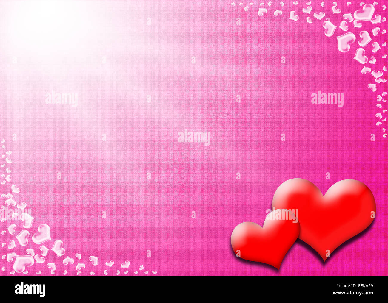Valentine Day card, Heart frame on pink and white background Stock ...