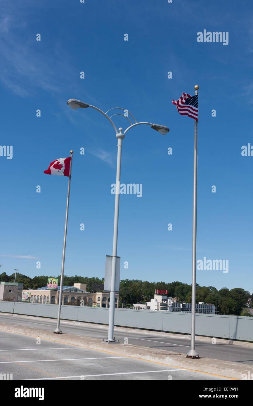 US Canada border on the Rainbow Bridge, Niagara Falls, NY ...