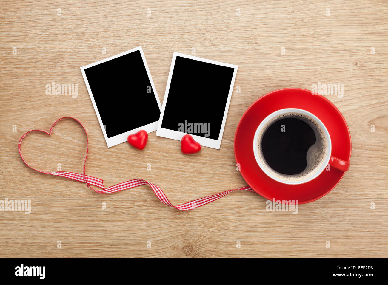 Coffee cup frames - Blank Photo Frames And Red Coffee Cup On Wooden Background