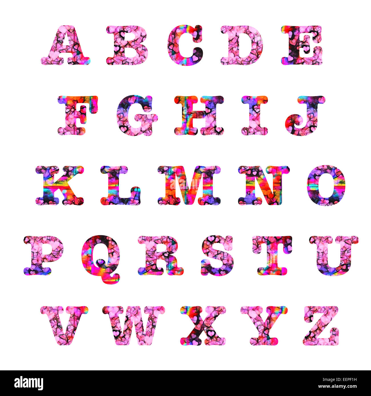 Pink red hearts upper case capital letters alphabet text artistic
