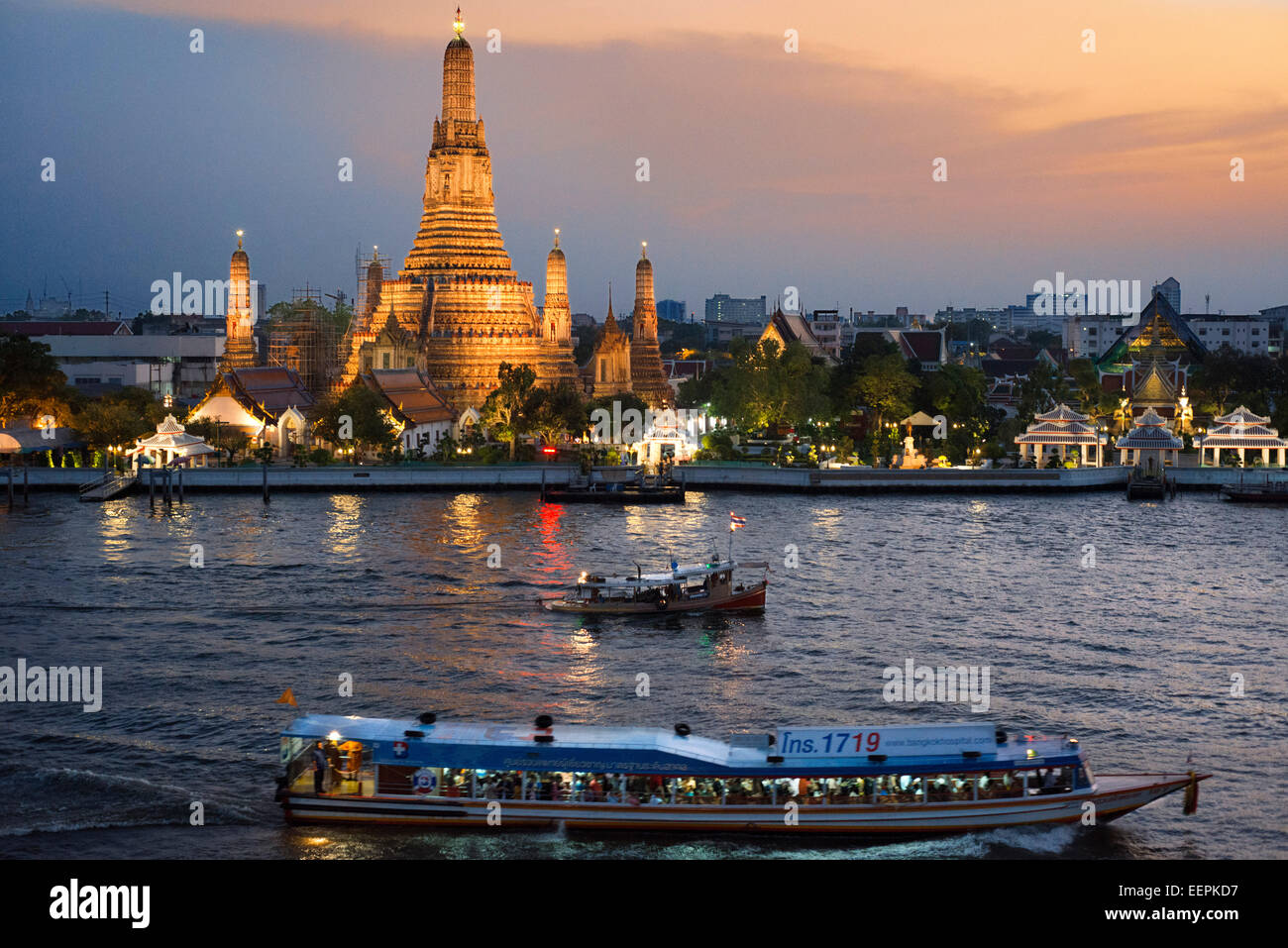Landscape In Sunset Of Wat Arun Temple From Chao Praya
