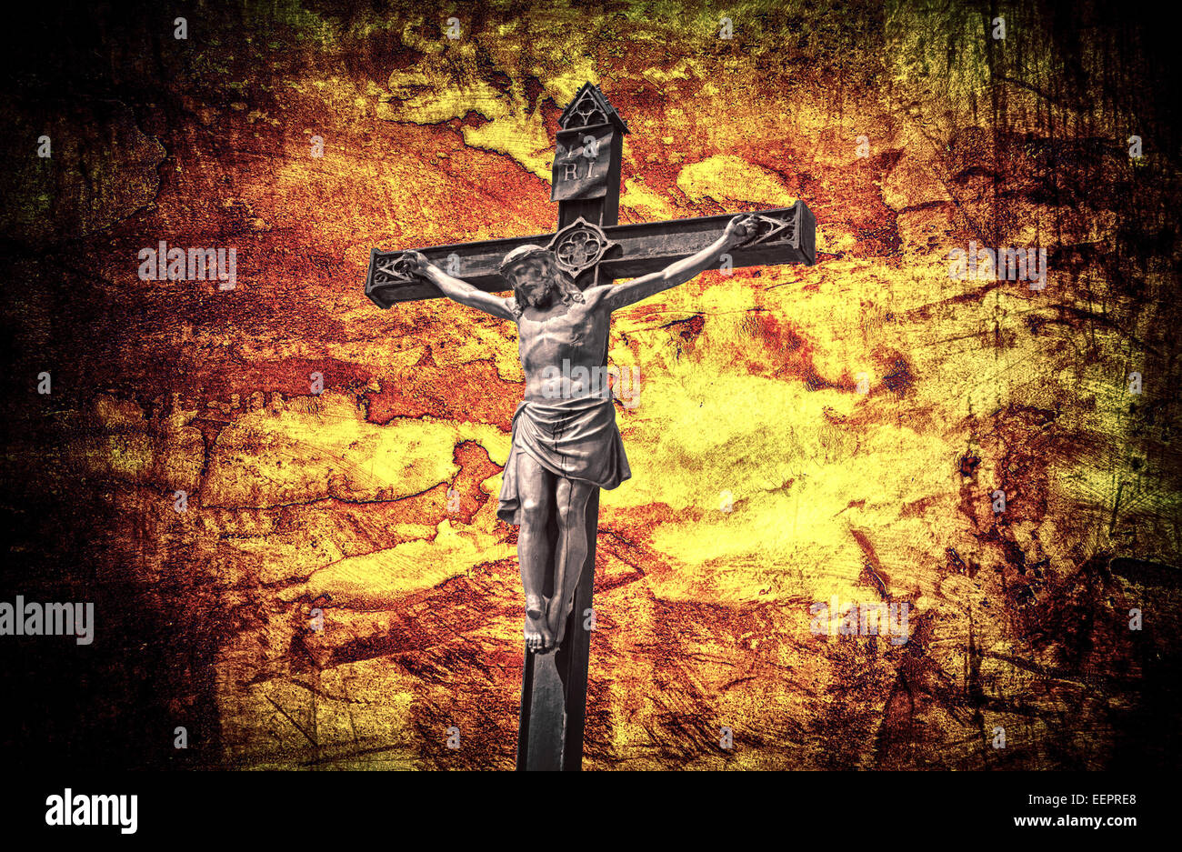 the crucifixion jesus on the cross grunge effect stock photo