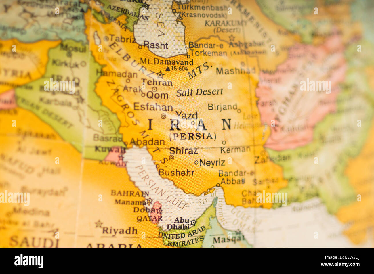 Map of Iran and the Middle East Stock Photo Royalty Free Image