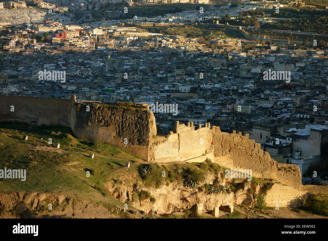 aerial view of old city wall and medina in fez on sunset morocco africa