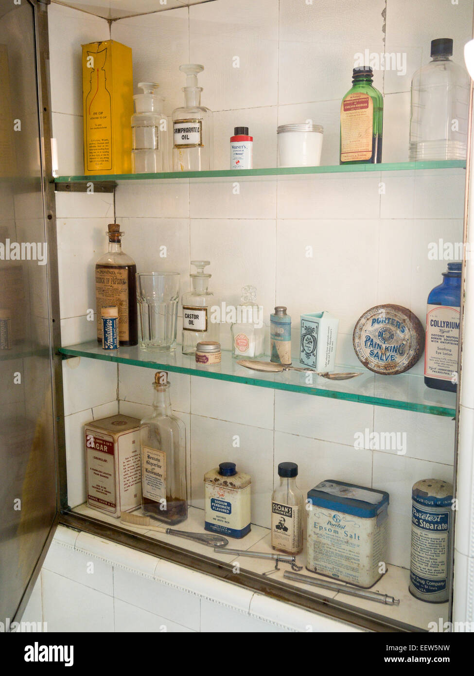 Medicine Cabinet, early 20th Century. A bathroom cabinet filled ...