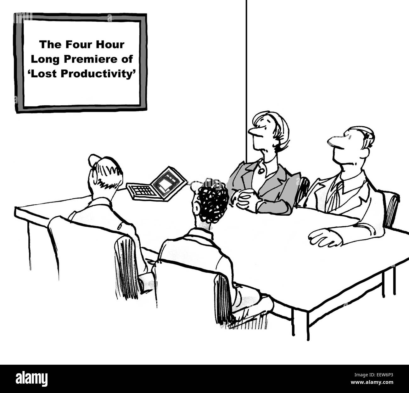Cartoon Showing Business People In A Meeting With Sign That Says ...