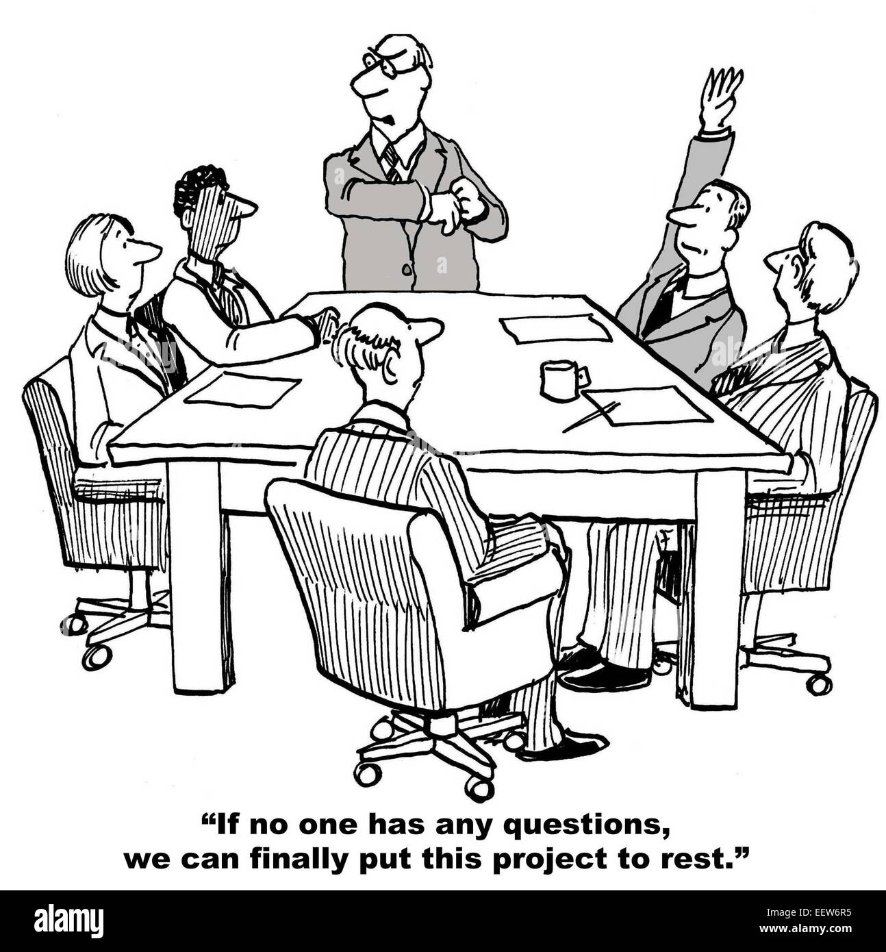 cartoon of business team on last day of project leader says can cartoon of business team on last day of project leader says can finally put project to rest but there is one more question