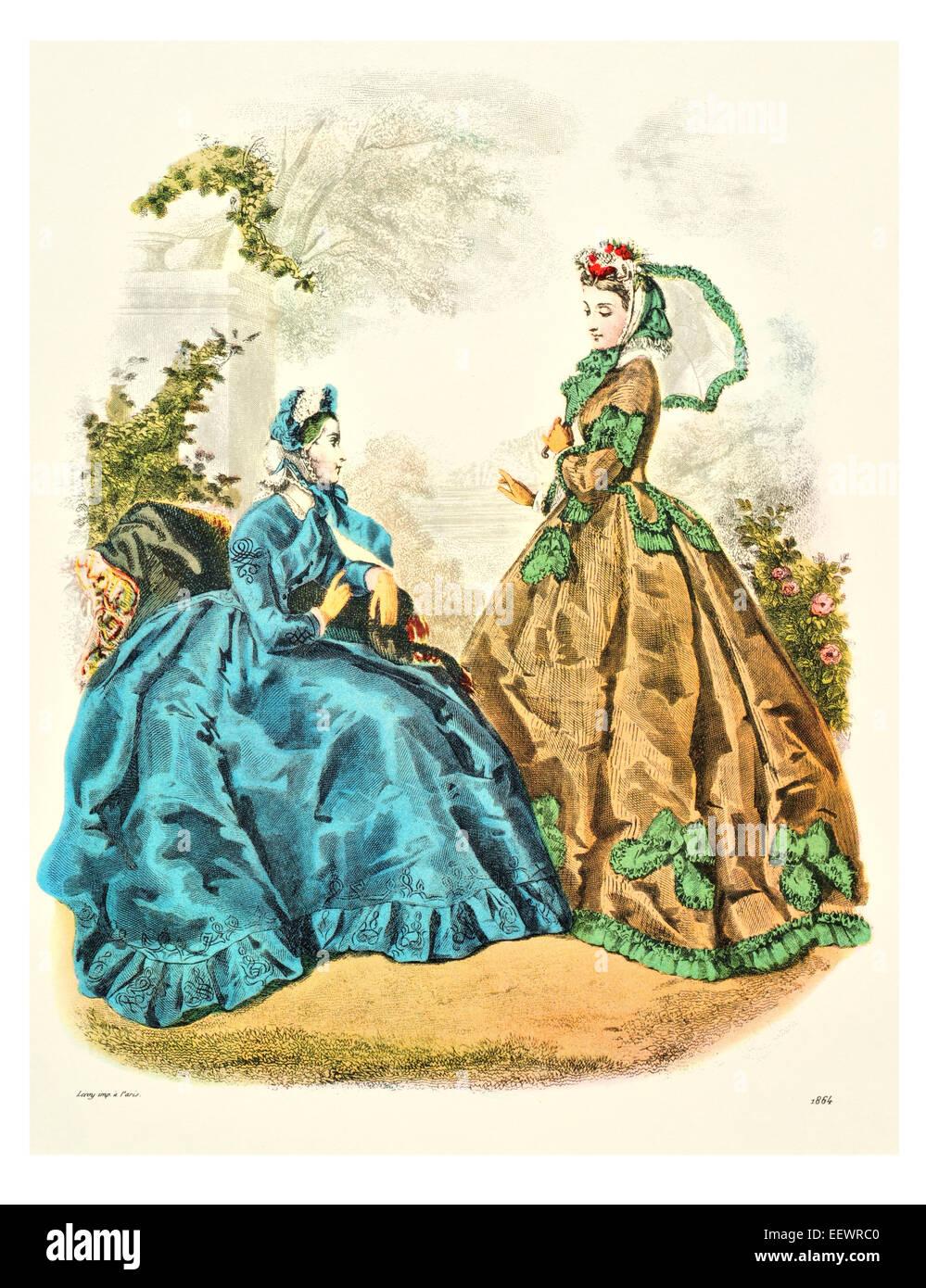 la mode illustree 1864 victorian era period costume fashion dress